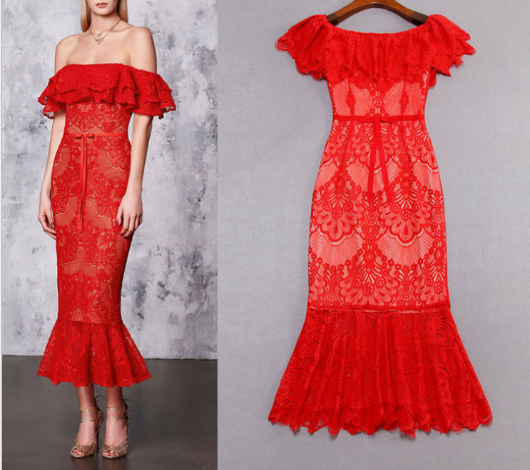 Hot Sale Evening Cocktail a word collar lace fishtail gown jupe falbala Robe