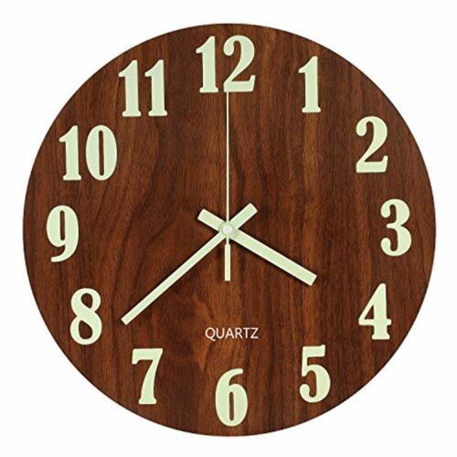 12 Inch Wooden Silent Non-Ticking Kitchen Wall Clock LENRUS Luminous Wall Clock
