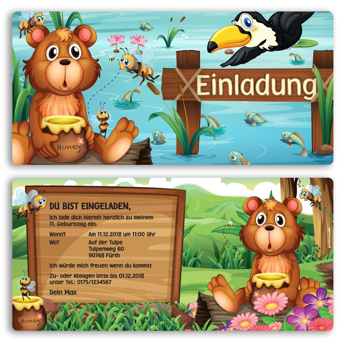 Einladung zum Geburtstag Geburtstag Geburtstag Bär Honig Karte Einladungskarten Kindergeburtstag | Ausgezeichnete Leistung  | Überlegen  4b9e9c