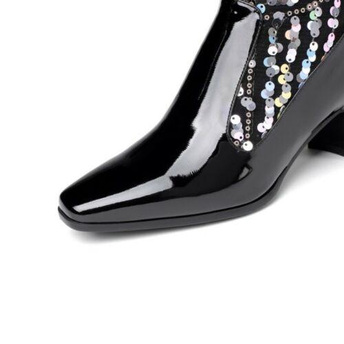 Mode Damenpumps Bestickt Glitzer Pailletten Eckige Wadenhohe Stiefel Reitstiefel