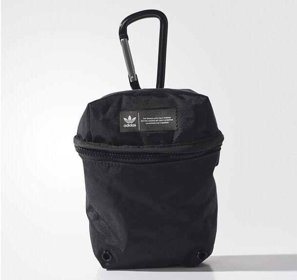 4603b539aab6 adidas Originals Pouch Bag Mini Black ZIPPER Pocket 3 Stripes Black AY8960  for sale online