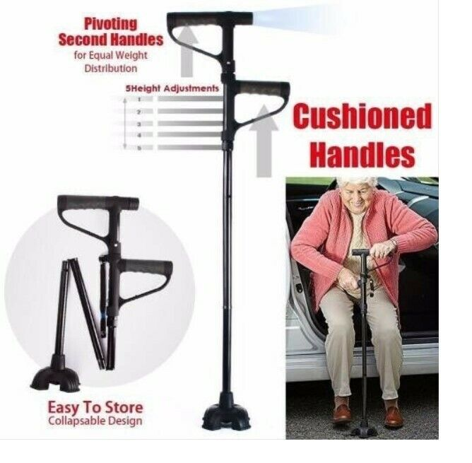 Double Handle 5 Adjustments Walking Stick with LED Lights- Brand New!