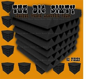 48-The-BIG-60-pack-grey-Acoustic-Wedge-studio-Foam-tiles-12x12x2-soundproofing