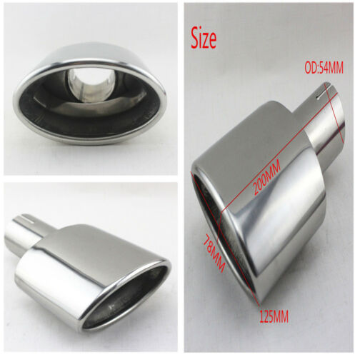 54mm Chrome Stainless Steel Car Exhaust End Tips Pipes Tailpipe Aggressive Look
