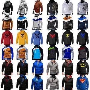 Mens-Long-Sleeve-Hoodie-Sweatshirt-Sweater-Jumper-Pullover-Coat-Outwear-Overhead