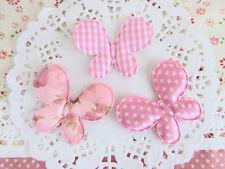 "60 Fabric Flower 1/"" Daisy Applique//Trim//Polka Dot//Gingham Plaid//Felt H154-Pink"