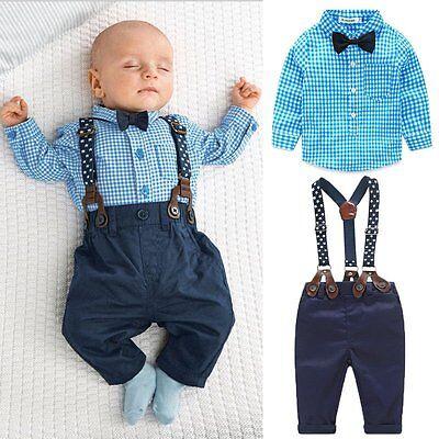 2PCS Newborn Infant Baby Boys Shirt+Suspender Pants Overalls Clothes Outfits Set