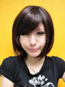 cute dark brown kanekalon straight hair wigs fashion short