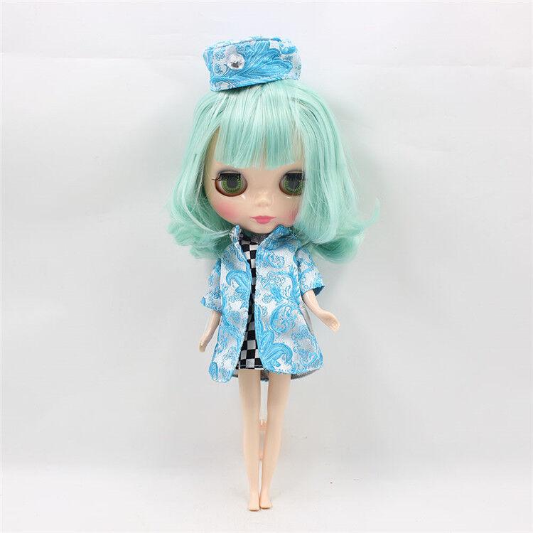 12  Neo Blythe Doll de fábrica Desnuda Muñeca verde Menta pelo corto con Bang