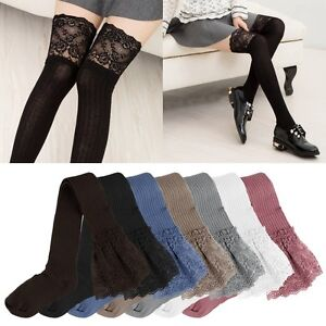572a647b5c1 Image is loading Women-Lace-Knitting-Cotton-Over-Knee-Thigh-Stockings-