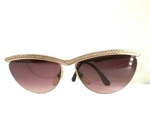 Sunglasses-TRUSSARDI-TPL117-N-Vintage-Ages-80-Made-IN-Italy-Woman-Metal-Sign
