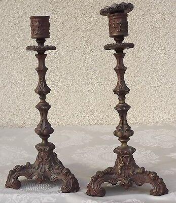 Antik 1900 Französisch Bronze Paar Kerzenständer Kandelaber Vergoldetes Louis Blut NäHren Und Geist Einstellen
