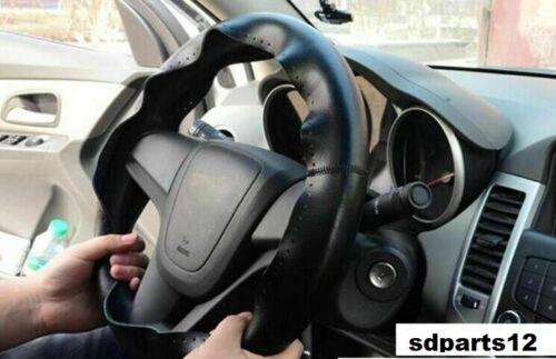 Coprivolante Pelle Vera Nera Cucito a Mano con Ago E Filo Per BMW Mercedes 38cm