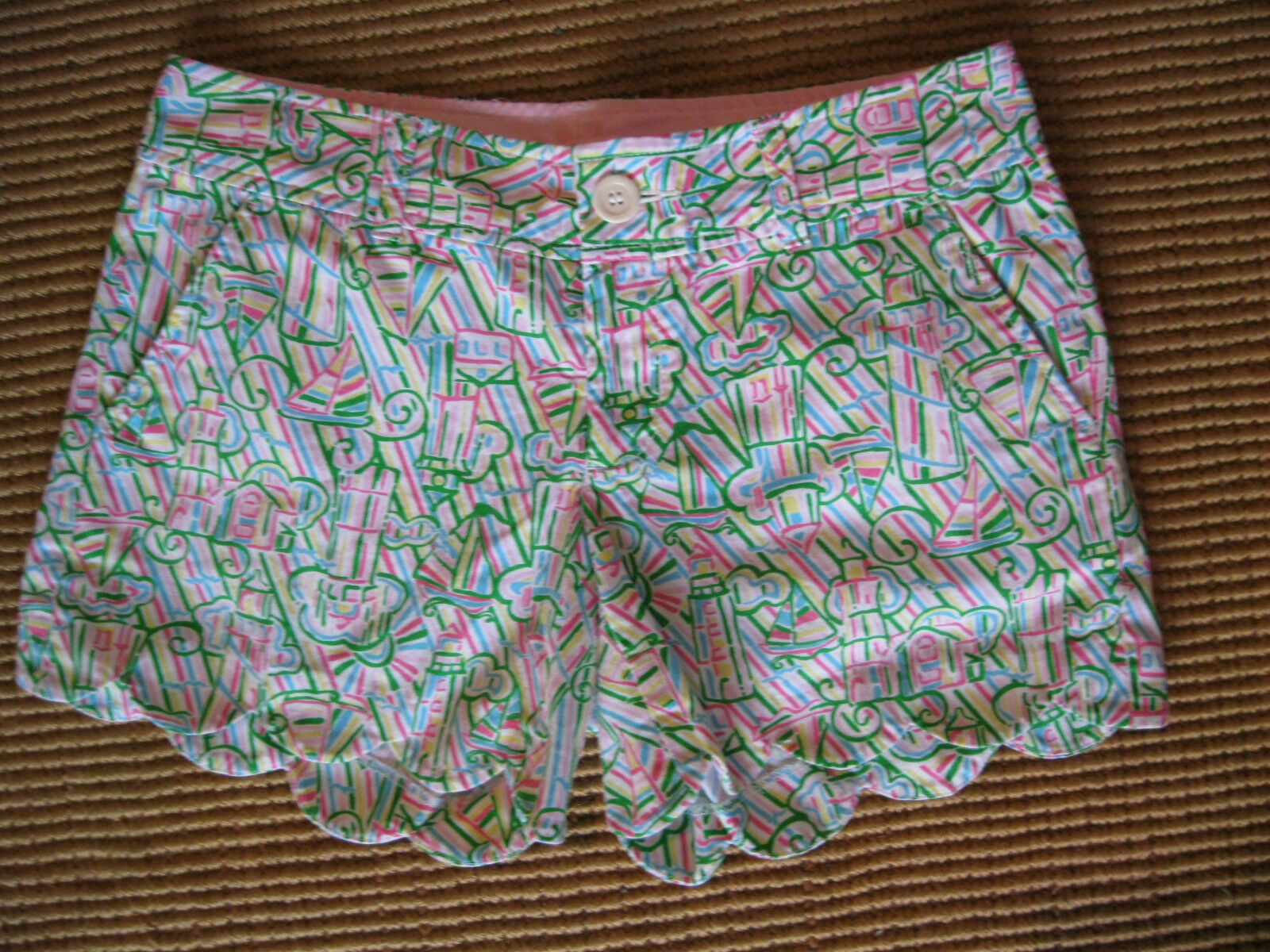 New LILLY PULITZER Guiding Light Print Pink Green White Buttercup Shorts Sz 0