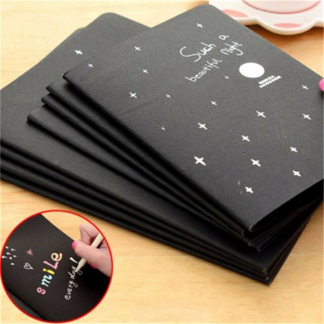 4PC 56K Soft Cover Black Paper Sketch Book Diary for Drawing Painting Graffiti