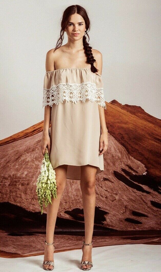 NWT Gorgeous Stone Cold Fox Bonita Crochet Silk Dress Nude Taupe - 2