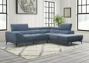 Details about MODERN BLUE MICROFIBER SOFA SECTIONAL CHAISE ADJUSTABLE  HEADRESTS FURNITURE