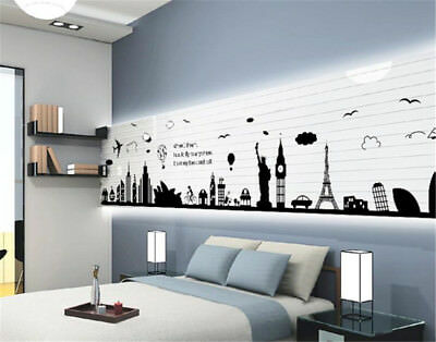 World Famous Buildings Room Home Decor Removable Wall Stickers Decals Decoration