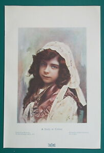 LOVELY-GIRL-Blue-Eye-Brunette-1904-COLOR-Art-Nouveu-Era-Print