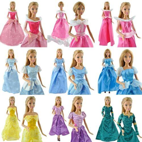 Palla da 2x fatte a mano Principessa Abiti Abiti da sposa bambole Barbie 4 dimensioni UK SPEDIZIONE
