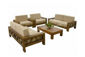 contemporary wood sofa. Contemporary Wooden Sofa Set With 1 Center Table (SUN-WSS175) Wood N