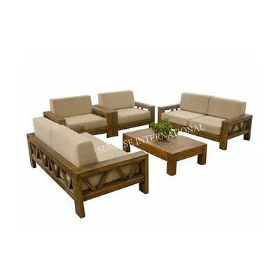 Contemporary Wooden Sofa Set With 1 Center Table (WSS175)