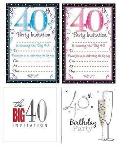 Image Is Loading AGE 40 40th BIRTHDAY Party Invitations Amp Envelopes
