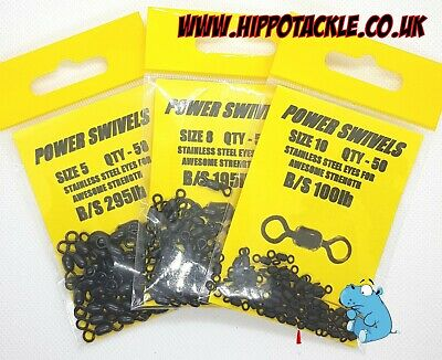 Sizes 5,8,10 Genuine Power Swivels Terminal Tackle Various Sizes pack of 50