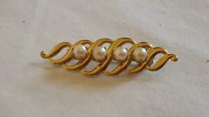 2-034-VINTAGE-PRONGED-FAUX-PEARL-BAR-SCARF-BROOCH-PIN-ARTSY-PRESSED-METAL-QUALITY