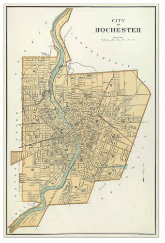 City of ROCHESTER New York Downtown MAP circa 1895 Vintage Street Repro Poster
