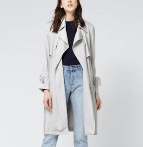 Warehouse-Soft-Grey-Drape-Belt-Tie-Sleeve-Light-Trench-Mac-Duster-Coat-6-8-16