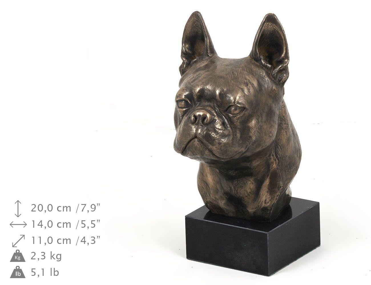 Boston Terrier - dog figurine on the marble base, high quality Art Dog