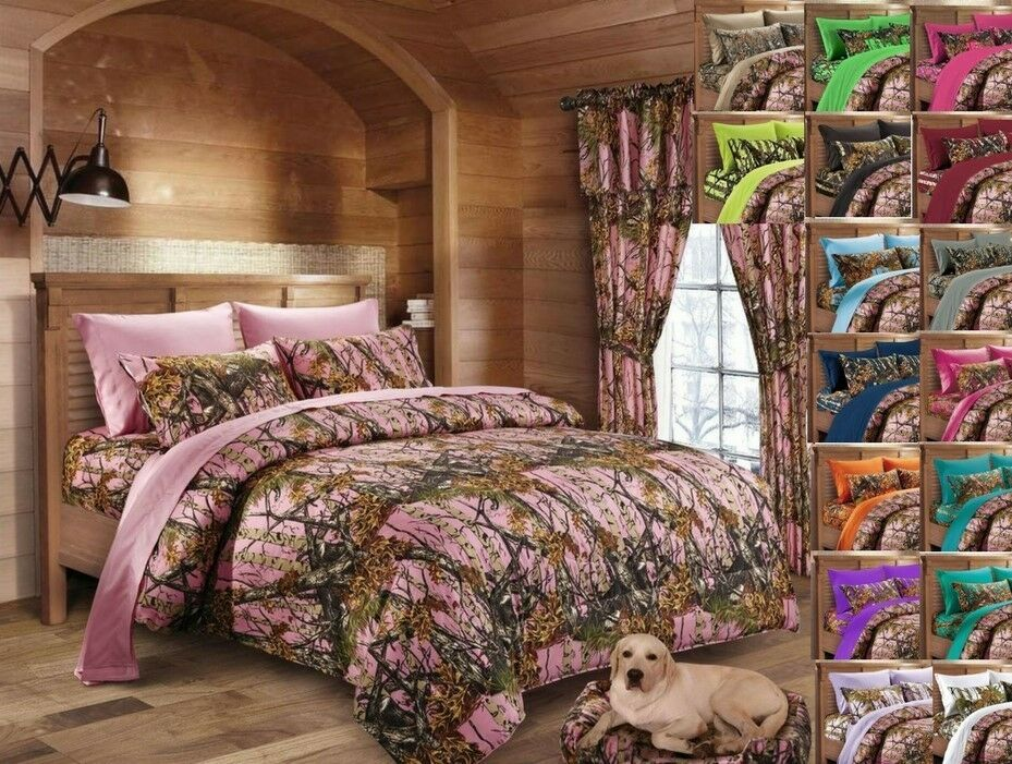 12 pc Pink Camo CAL King size Comforter, sheets, pillowcases and curtains set