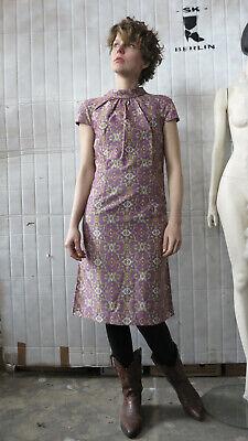 Vendita Calda Donna Vestito Abito Estivo Fiorellini Lilla Ocra 70er Truevintage 70s Ladies Dress-