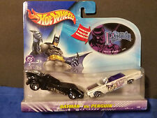 2003  Hot Wheels BATMAN vs PENGUIN  2 Car Set Includes Penguin Sticker