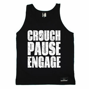 Crouch Pause Engage SINGLET Rugby Rugga Team Funny Birthday Gift Present Him Her