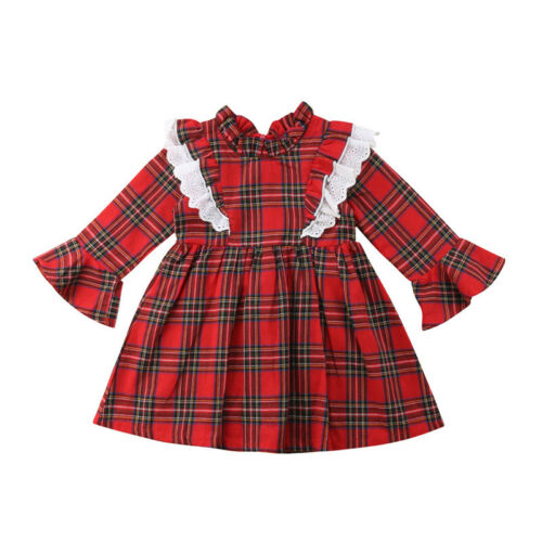 Christmas Sister Matching Kid Baby Girls Plaids Romper Dress Outfit Clothes Set