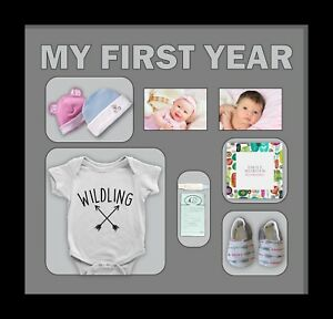 Personalised-baby-3D-memory-box-frame-Grey-Mount