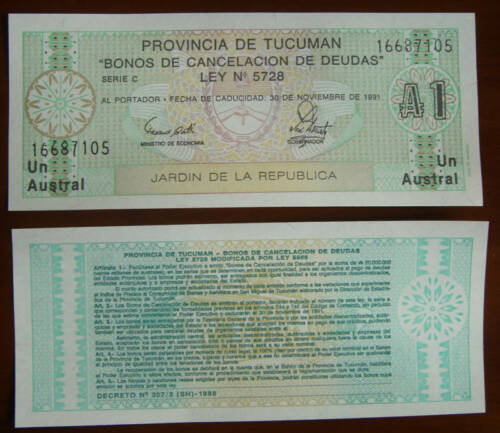 ARGENTINA TUCUMAN REGION 1 AUSTRAL BANKNOTE 1991 UNC