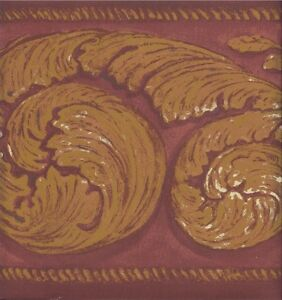 Wallpaper-Border-Gold-Acanthus-Scroll-On-Burgundy-Faux