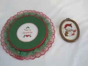 Set of 2 Christmas Needlepoint Snowman Merry Christmas (OAR15-0228)