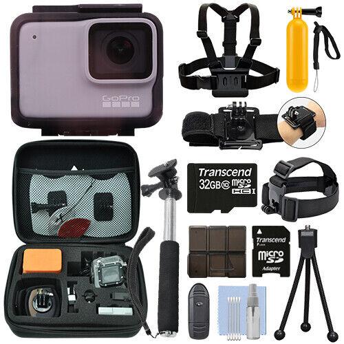 GoPro HERO7 White 10 MP Waterproof Camera Camcorder + 32GB Action Bundle 32gb action bundle camcorder camera gopro hero7 waterproof white