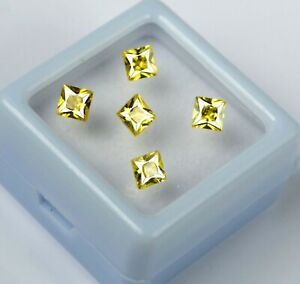 Natural 5 Pcs Yellow Sapphire 2.95 Ct/3 mm Square Gemstone Lot Certified GP30