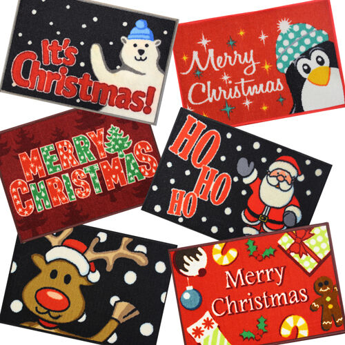 6 x ASSORTED CHRISTMAS NOVELTY MACHINE WASHABLE DOOR FLOOR MATS RUG 40 X 60 CM