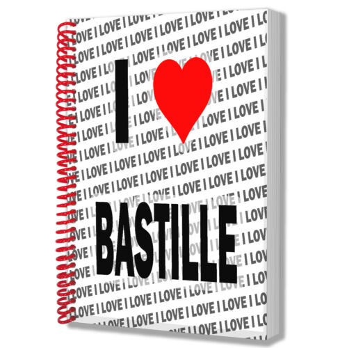 I Love Bastille A5 Notebook Pad Diary Drawings Birthday Christmas Gift