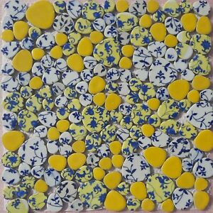 yellow mosaic indoor or outdoor tiles pebble floral