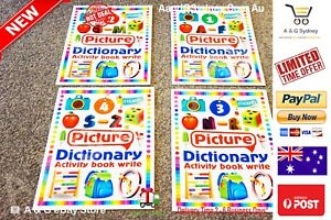 4-X-Kids-Picture-Dictionary-Stickers-Book-English-Alphabet-Educational-Sydney