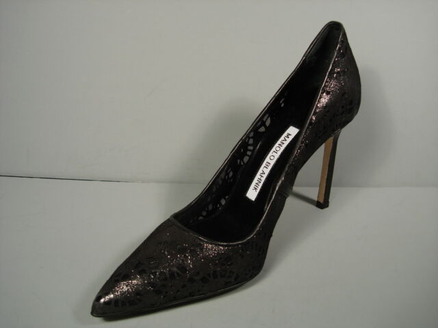 MANOLO BLAHNIK schwarz BB RETE LASER CUT LEATHER LEATHER LEATHER CLASSIC PUMPS POINTY TOE HEELS 38 b0adaa