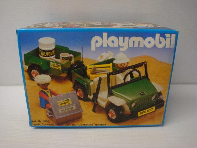 Playmobil antik zustand in schachtel versiegelt - jeep grün safari-ref 3532