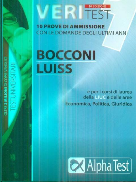 VERITEST. VOL. 1. BOCCONI LUISS  AA.VV. ALPHA TEST 2011 TESTUNIVERSITARI